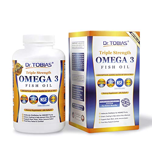 Image of the Dr. Tobias Omega 3 Fish Oil Triple Strength, Burpless, Non-GMO, NSF-Certified, 180 Counts