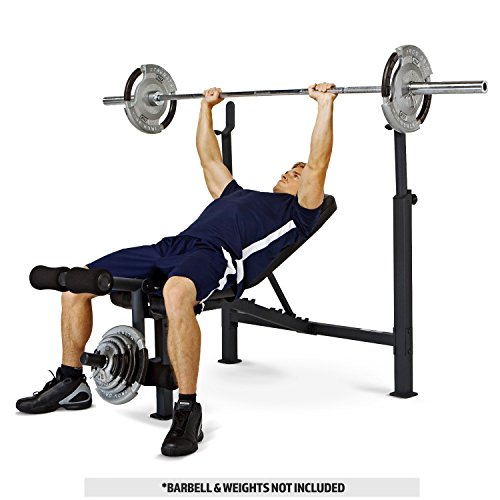 Image of the Marcy Competitor Adjustable Olympic Weight Bench with Leg Developer for Weight Lifting and Strength Training CB-729