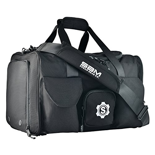 Image of the SOBAM Gear Co. Large Gym Duffel Bag Workout Bag for Men and Women with Shoe Compartment, Wet and Dry Pocket, Water Bottle Holder, 9 Pockets, 20in x 12in x 12in, tons of Space (Black, Standard)