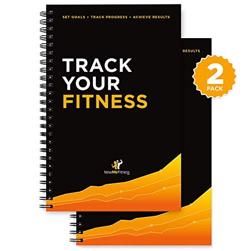 Image of the Workout Log Book & Fitness Journal - 25-Week Designed by Experts, w/ Illustrations : Track Gym, Bodybuilding & Crossfit Progress : Sturdy Binding, Thick Pages & Laminated, Protected Coverm, Pack of 2