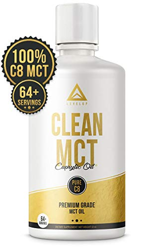 Image of the Clean MCT Oil: 100% Pure C8 Caprylic Acid Triglycerides | Best Ketogenic Diet Supplement | The Ultimate Keto Coffee Fat for Ketones | by LevelUp® (32oz)
