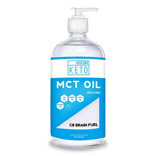 Image of the Kiss My Keto C8 MCT Oil - Pure MCT Oil C8 Brain Fuel, 32 oz Glass Bottle with Pump, Best MCT Oil Keto for Ketone Diet, Pure C8 Caprylic Acid, Enhance Ketogenic Performance, Use with Morning Coffee