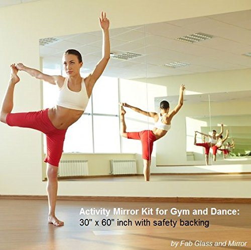 Image of the Fab Glass and Mirror GM36x60 Activity Mirror Kit for Gym & Dance with Safety Backing, 36