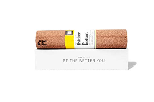 Image of the Supportive, Thick, Non Slip Cork Yoga Mat with Just The Right Amount of Padding for Sweat, Hot Yoga, Pilates, Bikram, and General Fitness (Extra Thick 80