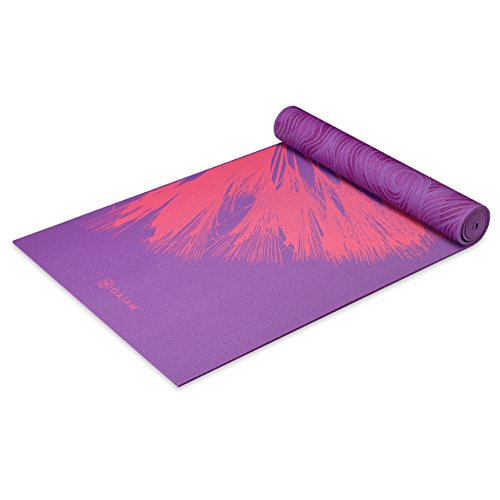 Image of the Gaiam Yoga Mat Premium Print Reversible Extra Thick Non Slip Exercise & Fitness Mat for All Types of Yoga, Pilates & Floor Exercises, Dandelion Roar, 5/6mm