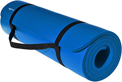 Image of the AmazonBasics 1/2-Inch Extra Thick Exercise Mat with Carrying Strap, Blue