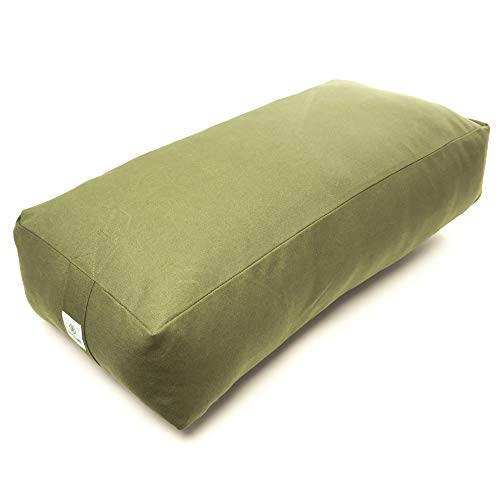 Image of the Incline Fit Round and Rectangle Supportive Yoga Bolster Filled with Cotton and Includes Machine Washable Cotton Cover and Cary Handle, Rectangle, Forest Green