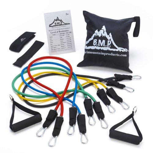 Image of the Black Mountain Products Resistance Band Set with Door Anchor, Ankle Strap, Exercise Chart, and Carrying Case