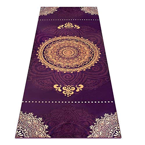 Image of the Heathyoga Yoga Towel, Exclusive Corner Pockets Design + Free Spray Bottle, 100% Microfiber Yoga Mat Towel for Hot Yoga, Pilates and Fitness