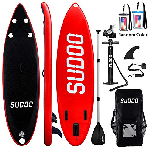 Image of the Inflatable SUP Stand Up Paddle Board Paddle(6 in Thick) Universal Accessories Wide Stance w/Bottom Fin for Paddling and Surf Control | Non-Slip Deck | Adjustable Paddle | Hand Pump w/Pressure Guage