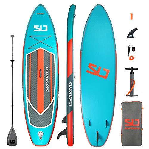 Image of the Swonder Premium Inflatable Stand Up Paddle Board, Ultra Durable & Steady, 10'6/11'6 Long 32'' Wide 6'' Thick, Full SUP Accessories- Paddle |Backpack | Leash | Pump |Center Fin, Paddling & Surfing