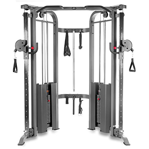 Image of the XMark Functional Trainer Cable Machine with Dual 200 lb Weight Stacks, 19 Adjustments, and Accessory Package XM-7626 (Gray)