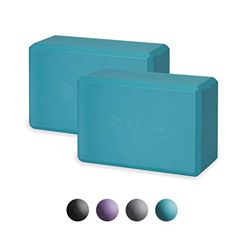 Image of the Gaiam Essentials Yoga Block (Set of 2) - Supportive Latex-Free EVA Foam Soft Non-Slip Surface for Yoga, Pilates, Meditation, Vivid Blue
