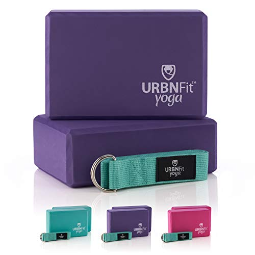 Image of the URBNFit Yoga Block (Purple Set & Strap)