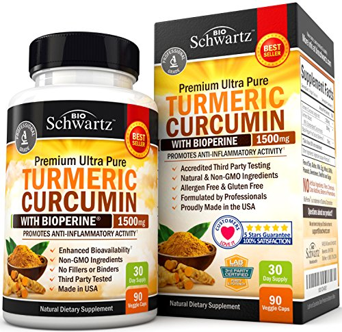 Image of the Turmeric Curcumin with Bioperine 1500mg. Highest Potency Available. Premium Pain Relief & Joint Support with 95% Standardized Curcuminoids. Non-GMO, Gluten Free Turmeric Capsules with Black Pepper