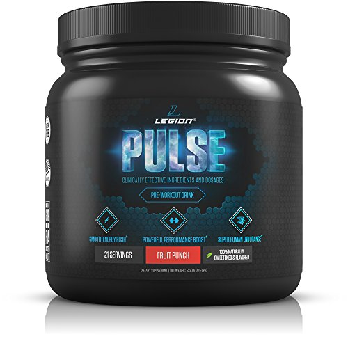 Image of the Legion Pulse Pre Workout Supplement - All Natural Nitric Oxide Preworkout Drink to Boost Energy & Endurance. Creatine Free, Naturally Sweetened & Flavored, Safe & Healthy. Fruit Punch, 21 Servings