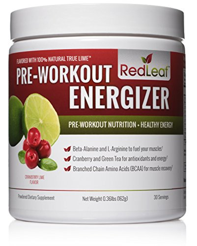 Image of the Red Leaf Pre-Workout Energizer Powder - BCAA's, Beta-Alanine, Amino Acids, Green Tea - Pre Workout Supplement with Natural Cranberry Lime Flavor, 30 Servings - Pre Workout for Women and Men